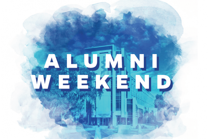 UF Medicine Alumni Weekend 2020 blue and white promo graphic